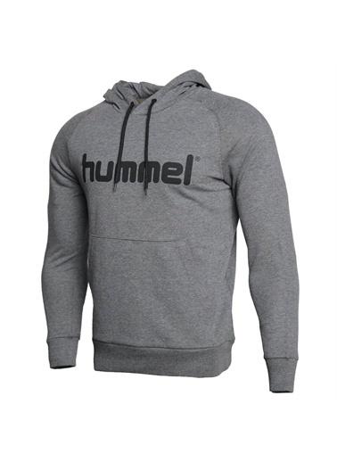 Hummel Hummel 9209032006 Volus Kapüşonlu Cepli Yazı Baskılı Erkek Sweatshirt Gri
